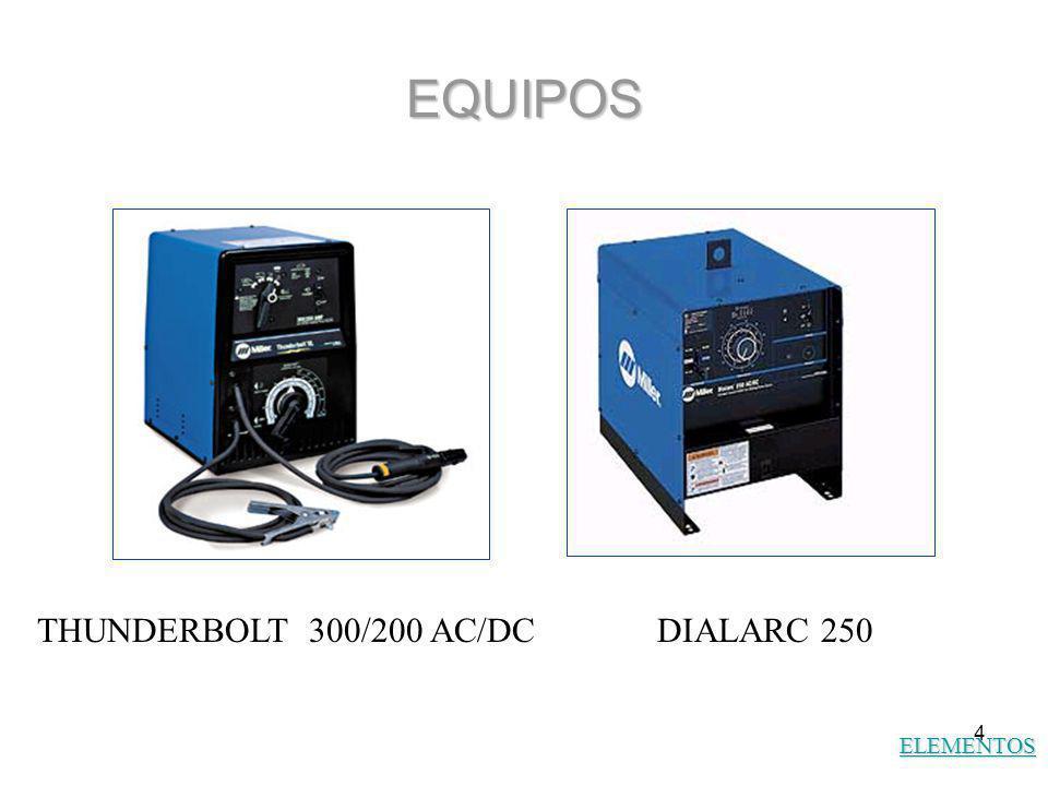 EQUIPOS THUNDERBOLT 300/200 AC/DC DIALARC 250 ELEMENTOS