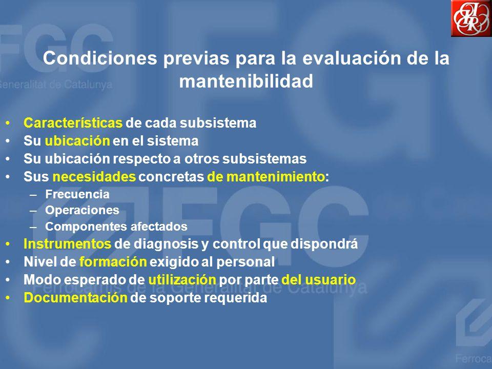 Condiciones previas para la evaluación de la mantenibilidad