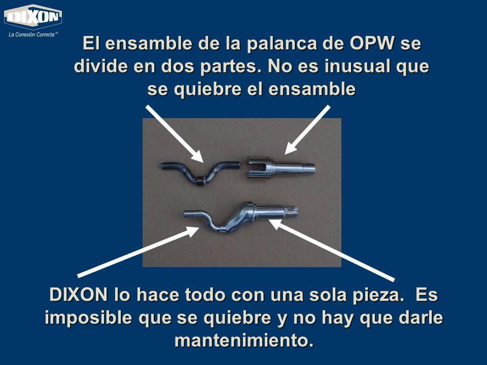 El ensamble de la palanca de OPW se divide en dos partes