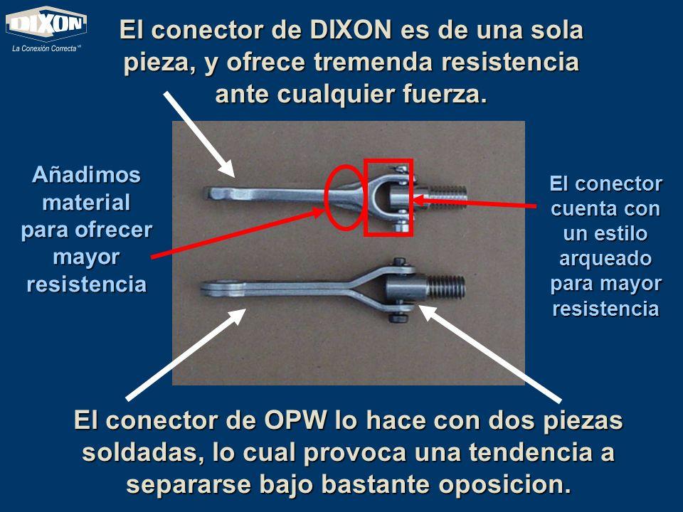 El conector de DIXON es de una sola pieza, y ofrece tremenda resistencia ante cualquier fuerza.