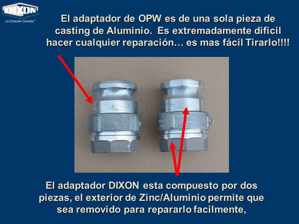 El adaptador de OPW es de una sola pieza de casting de Aluminio