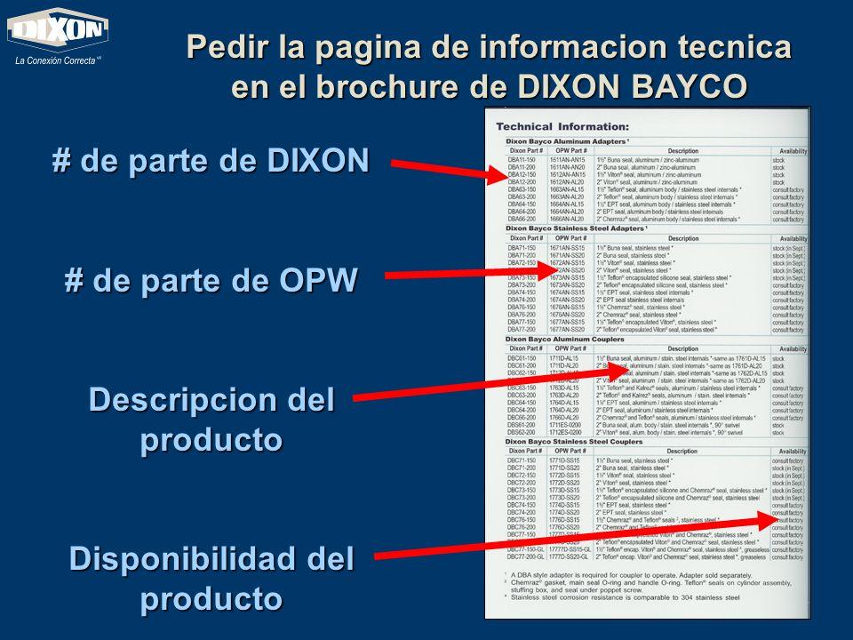 Pedir la pagina de informacion tecnica en el brochure de DIXON BAYCO