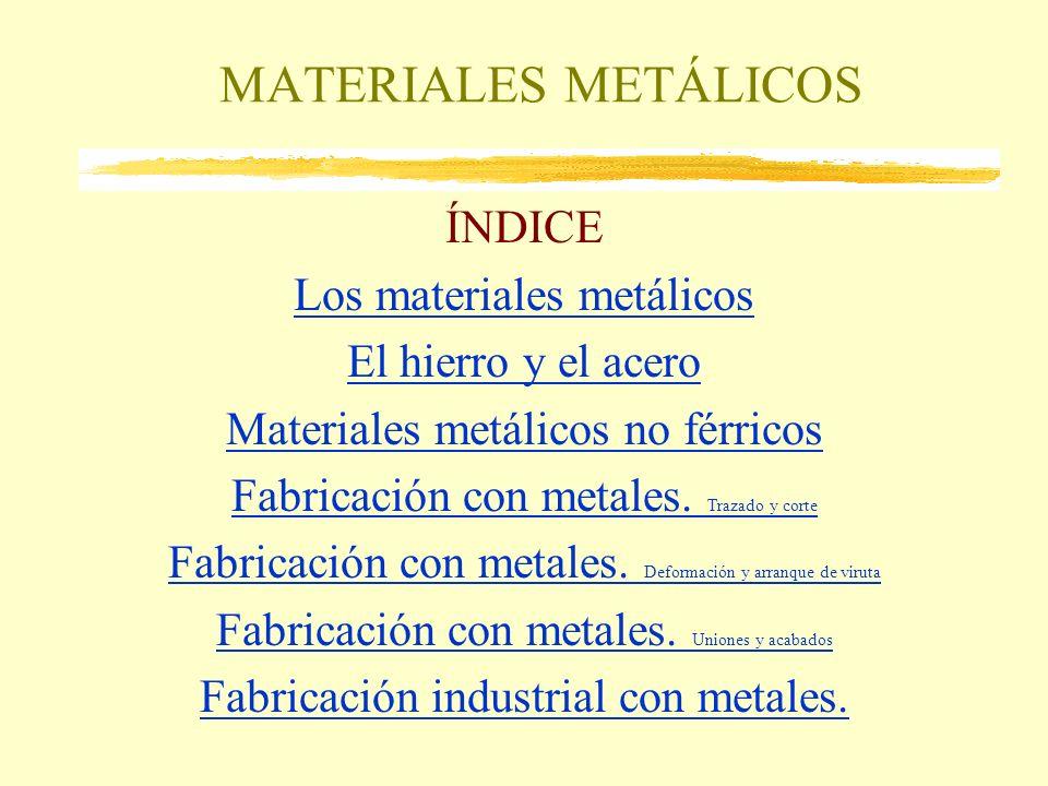MATERIALES METÁLICOS ÍNDICE Los materiales metálicos