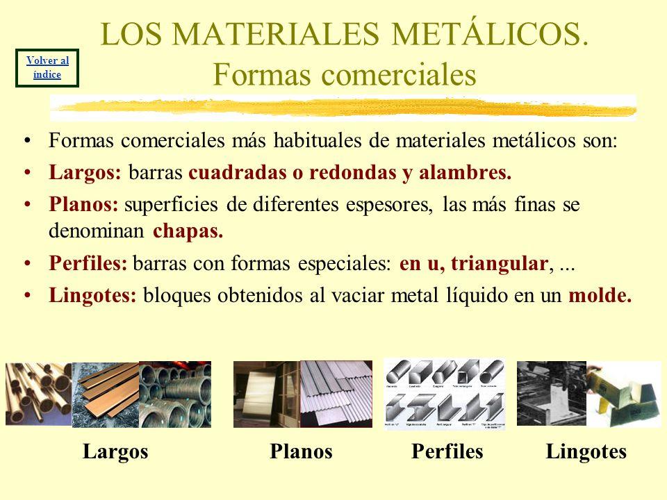 LOS MATERIALES METÁLICOS. Formas comerciales