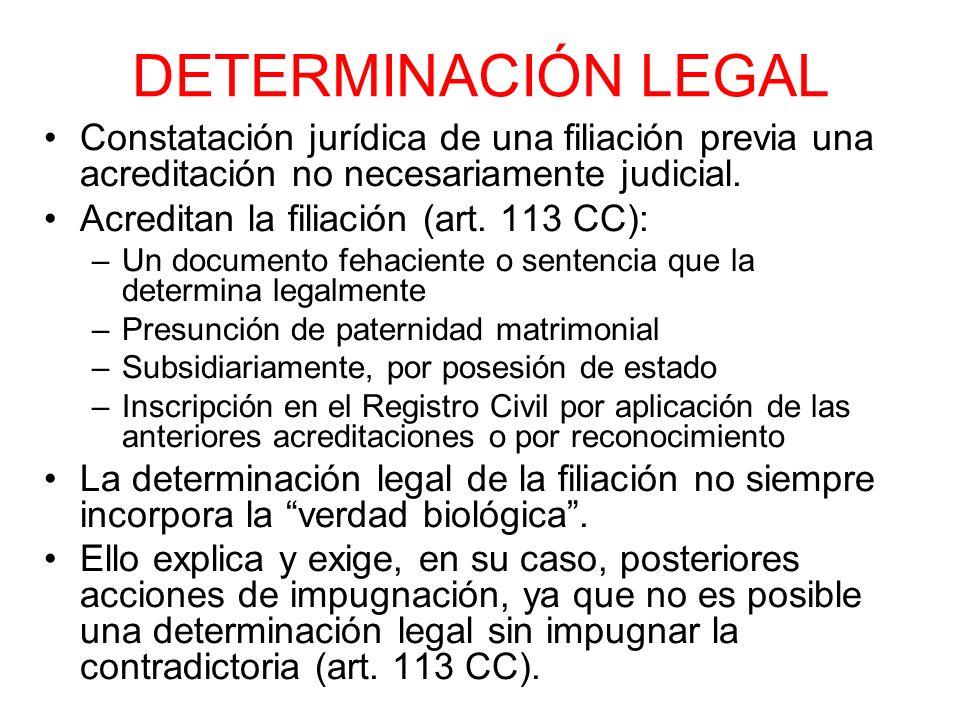 DETERMINACIÓN LEGAL Constatación jurídica de una filiación previa una acreditación no necesariamente judicial.