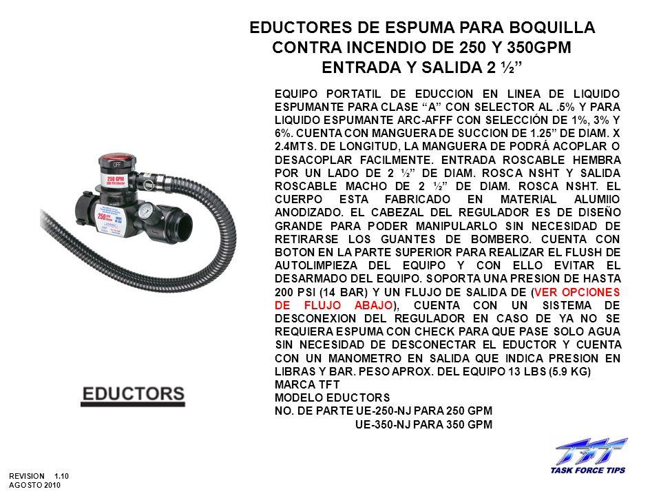 EDUCTORES DE ESPUMA PARA BOQUILLA CONTRA INCENDIO DE 250 Y 350GPM
