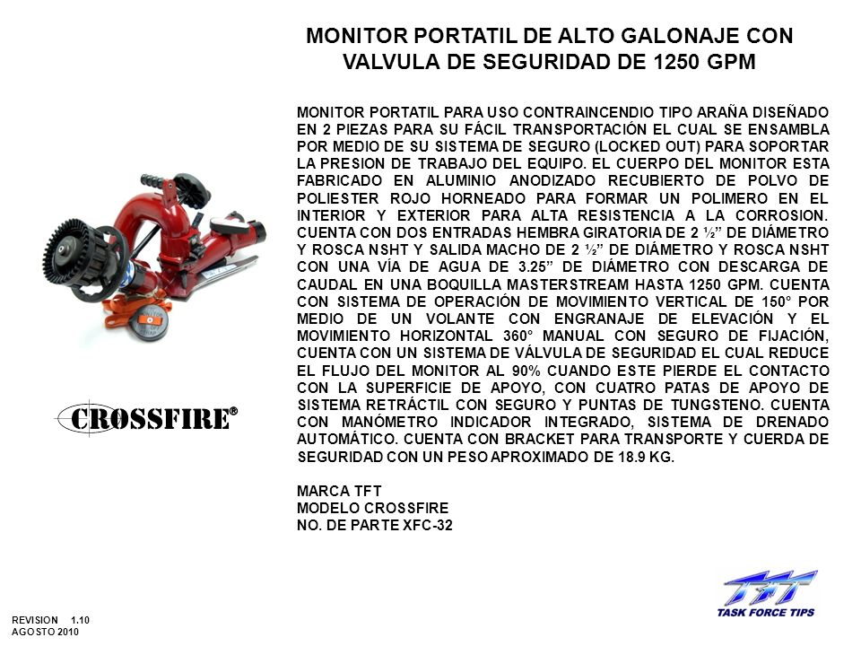 MONITOR PORTATIL DE ALTO GALONAJE CON VALVULA DE SEGURIDAD DE 1250 GPM