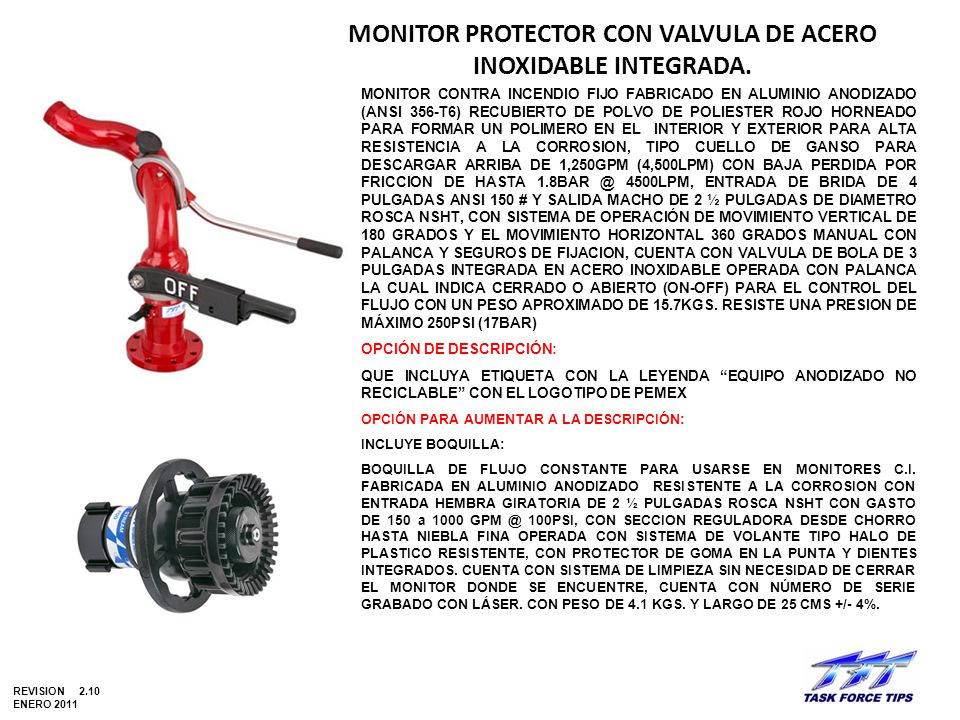 MONITOR PROTECTOR CON VALVULA DE ACERO INOXIDABLE INTEGRADA.