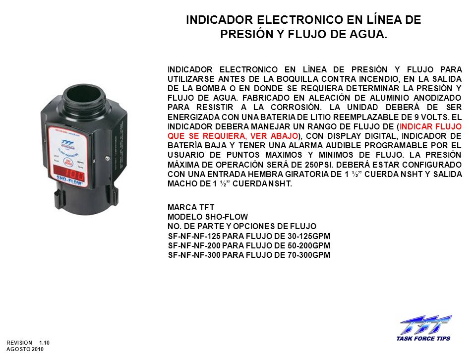 INDICADOR ELECTRONICO EN LÍNEA DE PRESIÓN Y FLUJO DE AGUA.