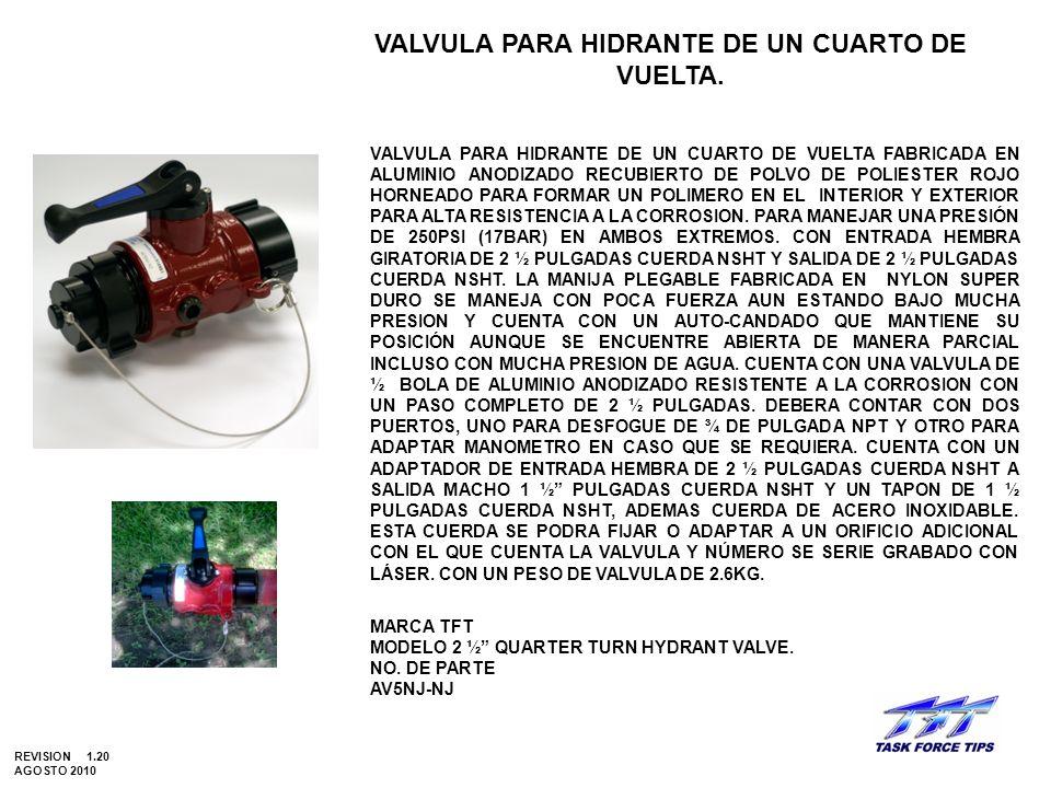 VALVULA PARA HIDRANTE DE UN CUARTO DE VUELTA.