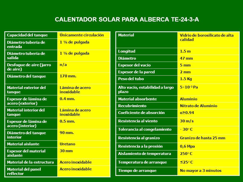CALENTADOR SOLAR PARA ALBERCA TE-24-3-A