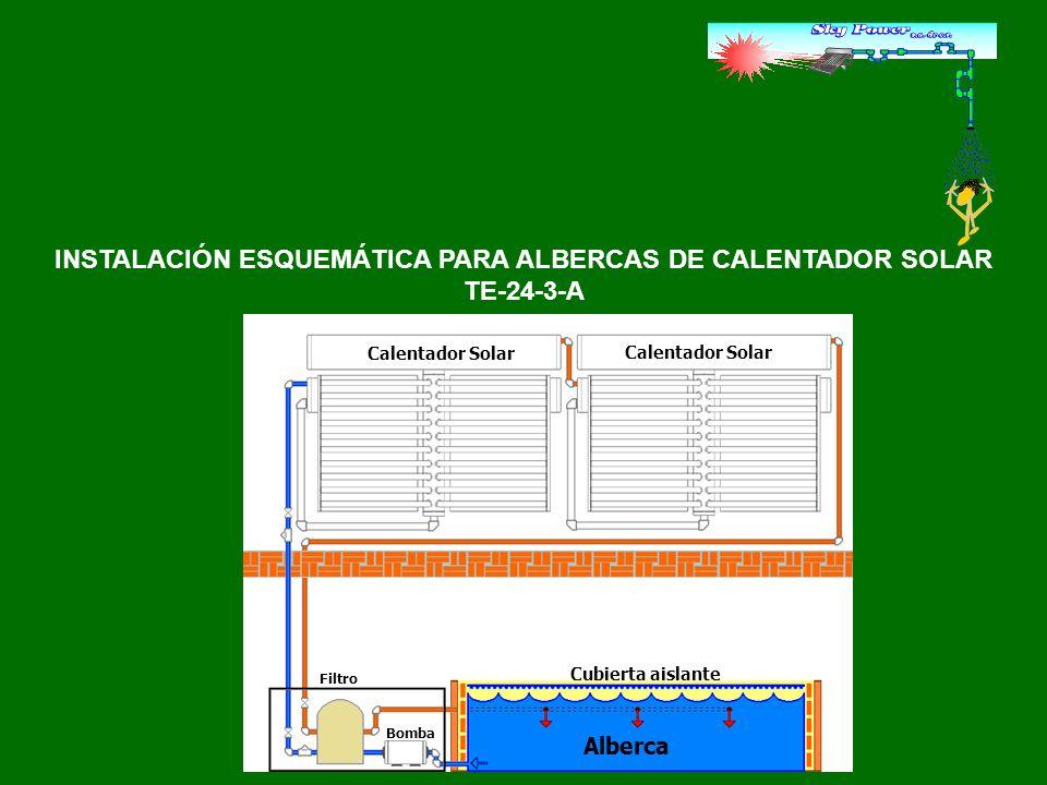 INSTALACIÓN ESQUEMÁTICA PARA ALBERCAS DE CALENTADOR SOLAR