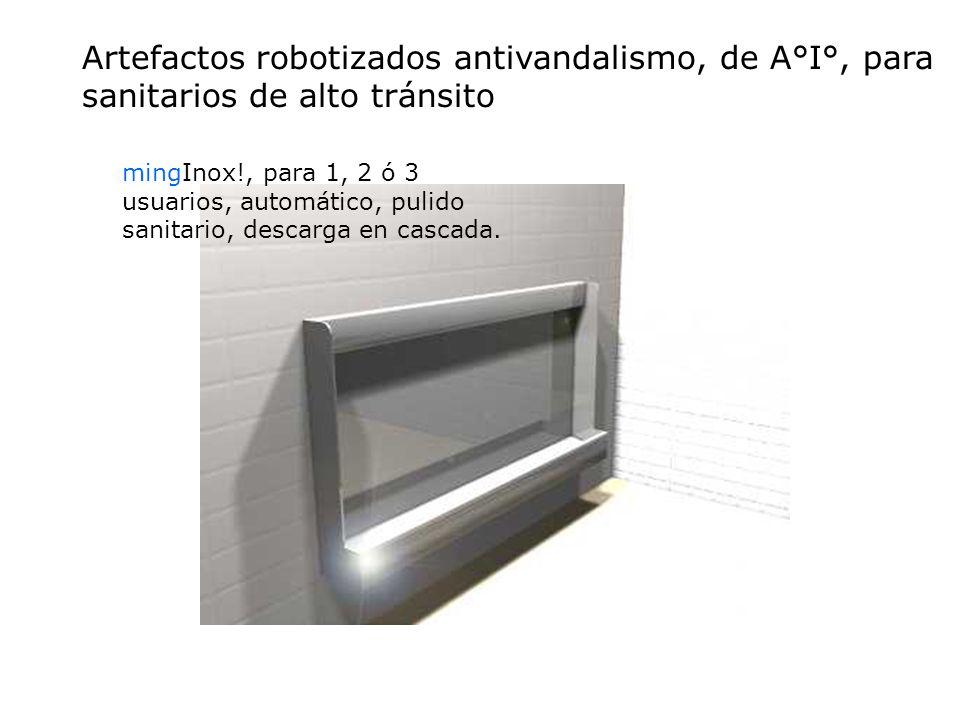 Artefactos robotizados antivandalismo, de A°I°, para sanitarios de alto tránsito