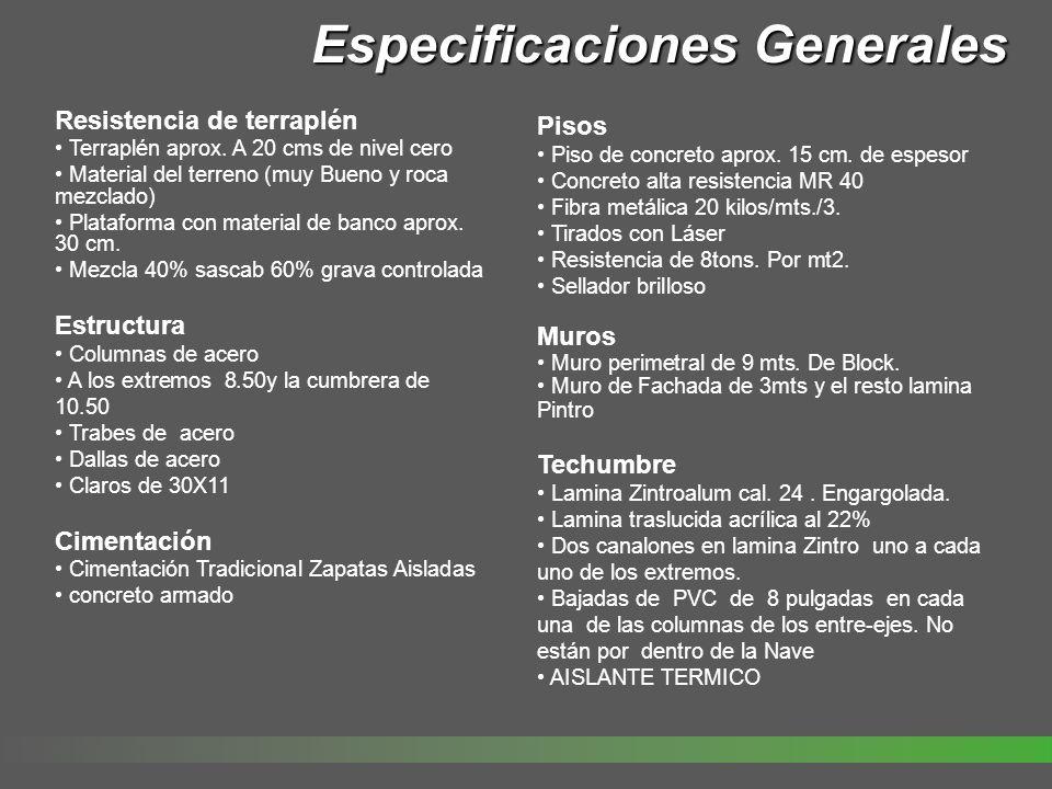 Especificaciones Generales