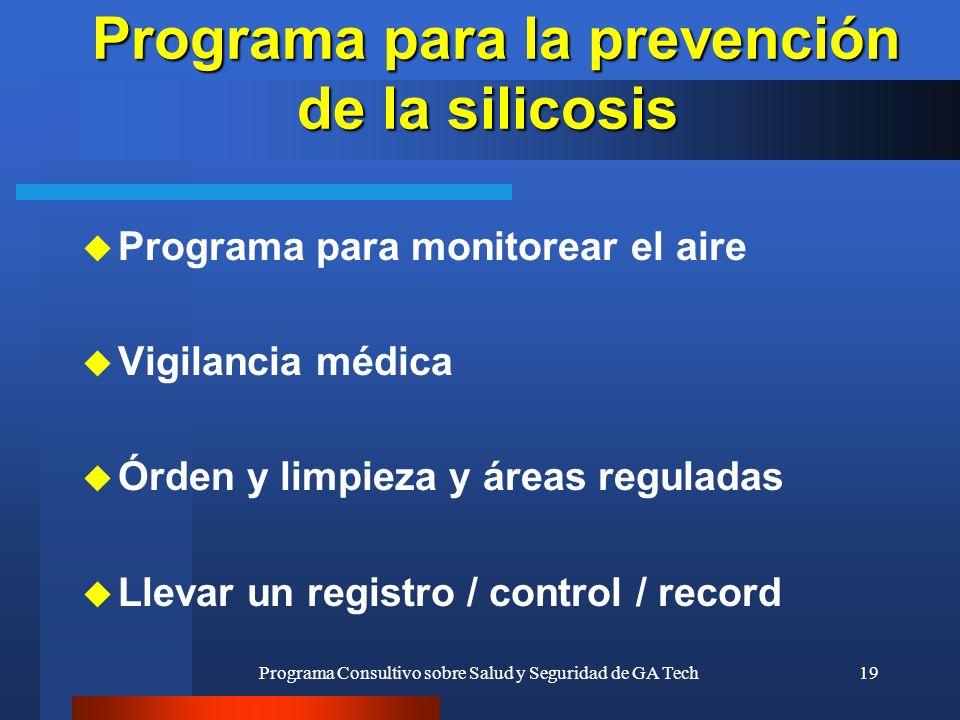 Programa para la prevención de la silicosis