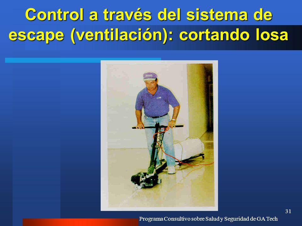 Control a través del sistema de escape (ventilación): cortando losa