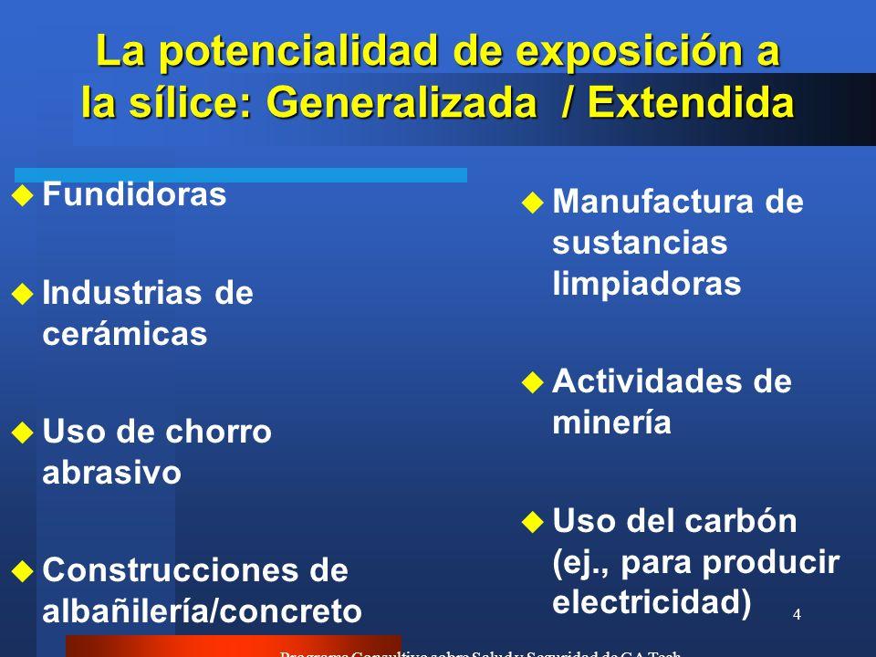 La potencialidad de exposición a la sílice: Generalizada / Extendida