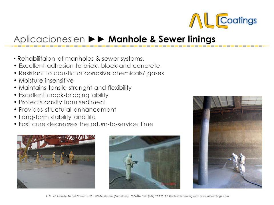 Aplicaciones en ►► Manhole & Sewer linings