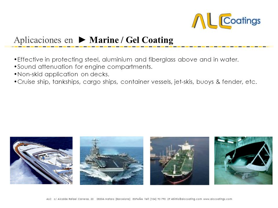 Aplicaciones en ► Marine / Gel Coating