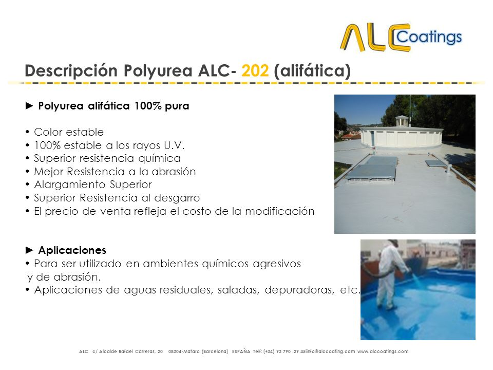 Descripción Polyurea ALC- 202 (alifática)