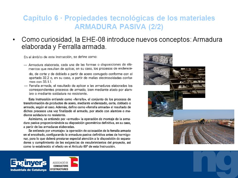 Capítulo 6 · Propiedades tecnológicas de los materiales ARMADURA PASIVA (2/2)