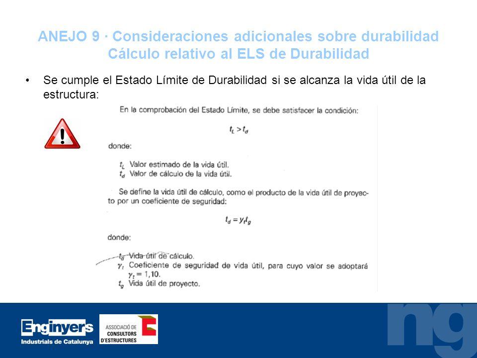 ANEJO 9 · Consideraciones adicionales sobre durabilidad Cálculo relativo al ELS de Durabilidad