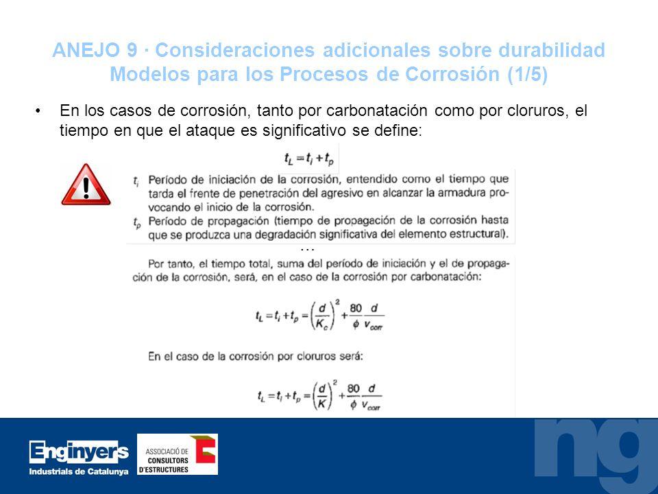 ANEJO 9 · Consideraciones adicionales sobre durabilidad Modelos para los Procesos de Corrosión (1/5)