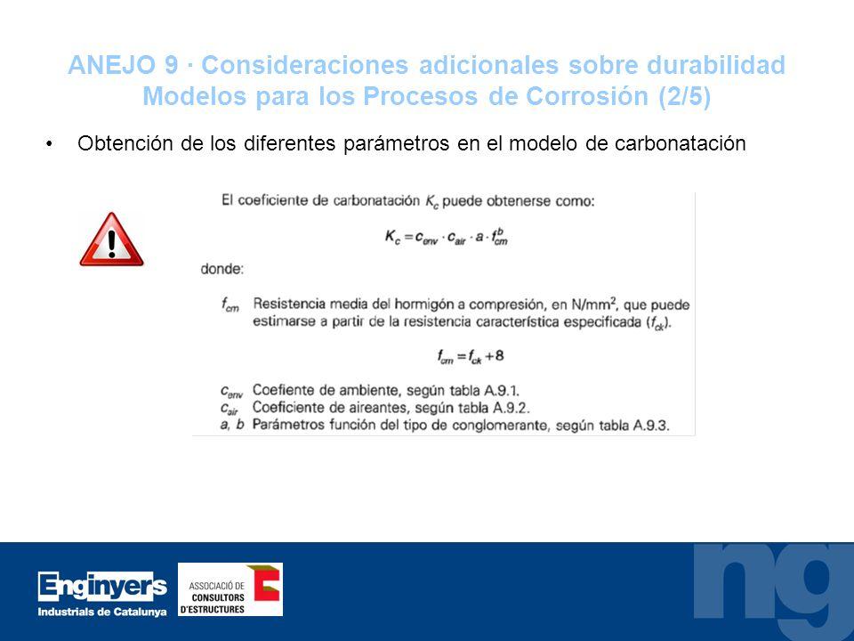ANEJO 9 · Consideraciones adicionales sobre durabilidad Modelos para los Procesos de Corrosión (2/5)