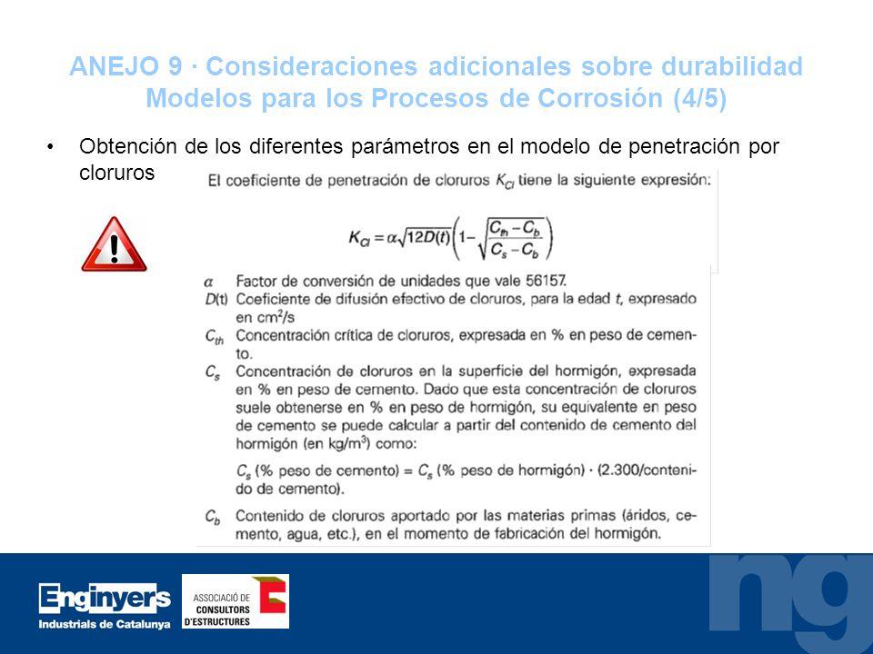 ANEJO 9 · Consideraciones adicionales sobre durabilidad Modelos para los Procesos de Corrosión (4/5)
