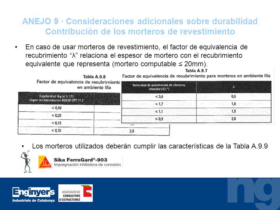 ANEJO 9 · Consideraciones adicionales sobre durabilidad Contribución de los morteros de revestimiento