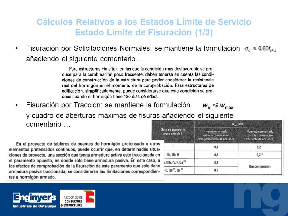 Cálculos Relativos a los Estados Límite de Servicio Estado Límite de Fisuración (1/3)