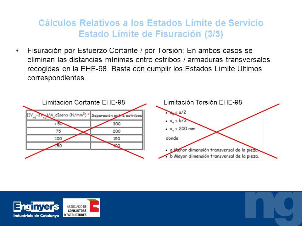 Cálculos Relativos a los Estados Límite de Servicio Estado Límite de Fisuración (3/3)