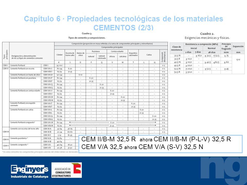 Capítulo 6 · Propiedades tecnológicas de los materiales CEMENTOS (2/3)