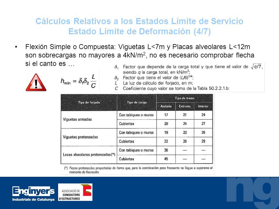 Cálculos Relativos a los Estados Límite de Servicio Estado Límite de Deformación (4/7)