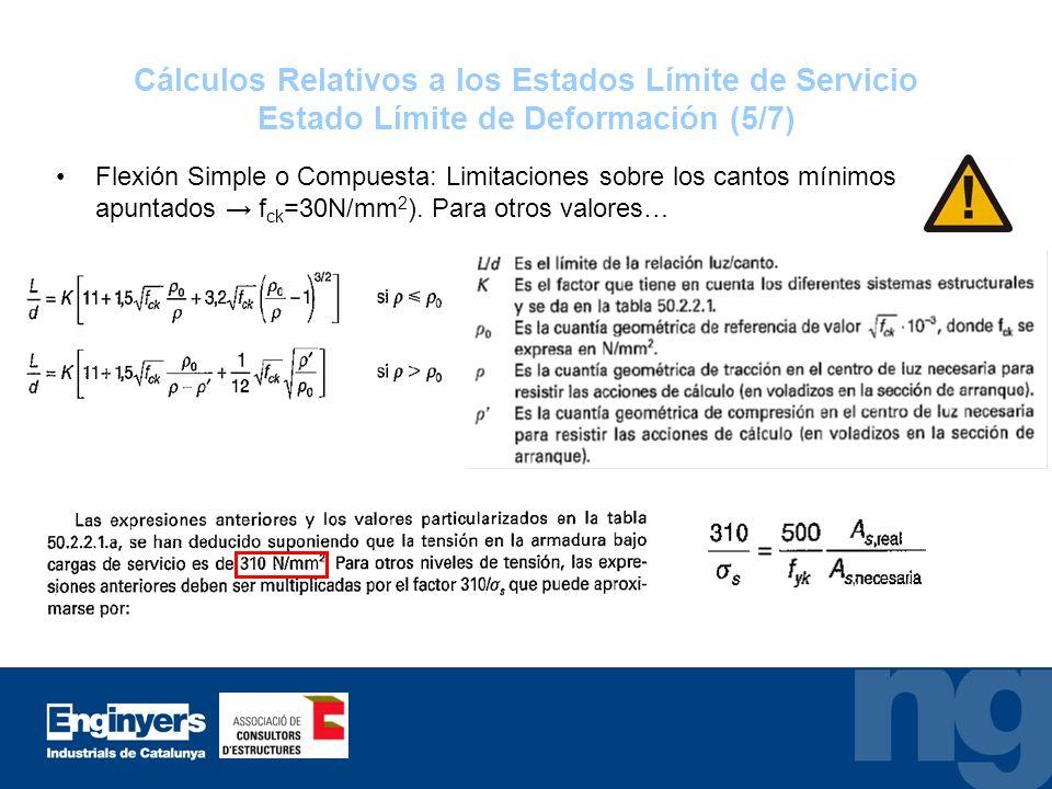 Cálculos Relativos a los Estados Límite de Servicio Estado Límite de Deformación (5/7)