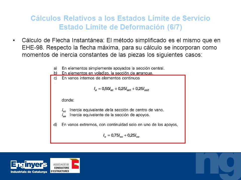 Cálculos Relativos a los Estados Límite de Servicio Estado Límite de Deformación (6/7)