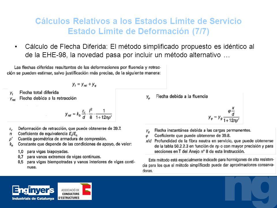 Cálculos Relativos a los Estados Límite de Servicio Estado Límite de Deformación (7/7)