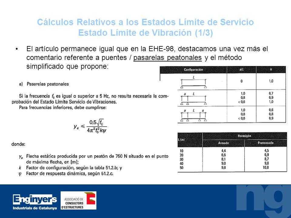 Cálculos Relativos a los Estados Límite de Servicio Estado Límite de Vibración (1/3)