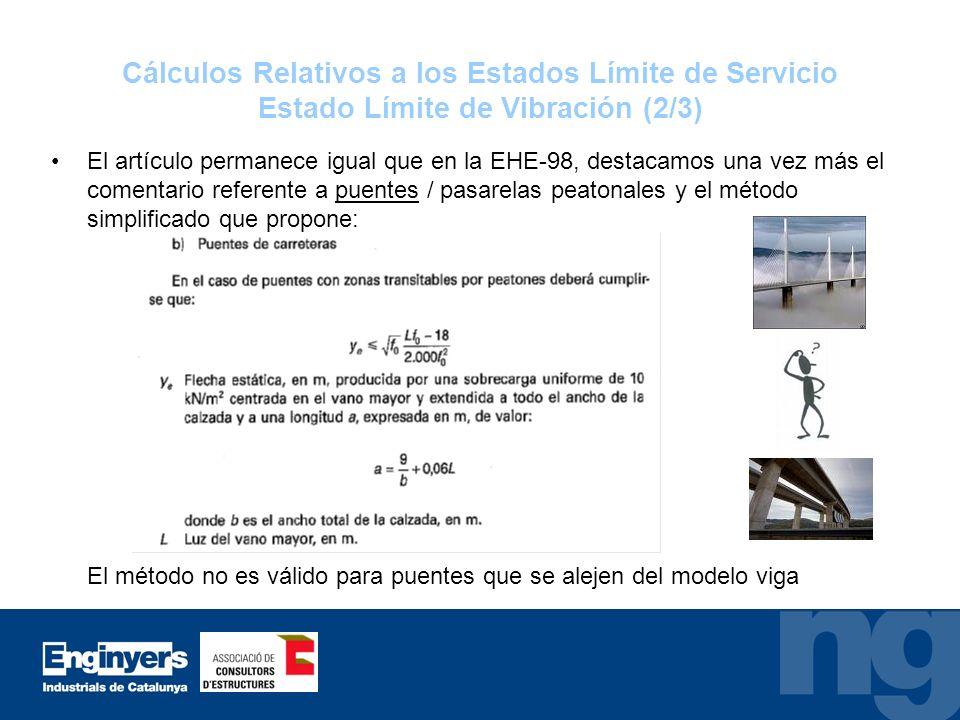 Cálculos Relativos a los Estados Límite de Servicio Estado Límite de Vibración (2/3)