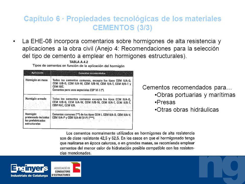Capítulo 6 · Propiedades tecnológicas de los materiales CEMENTOS (3/3)