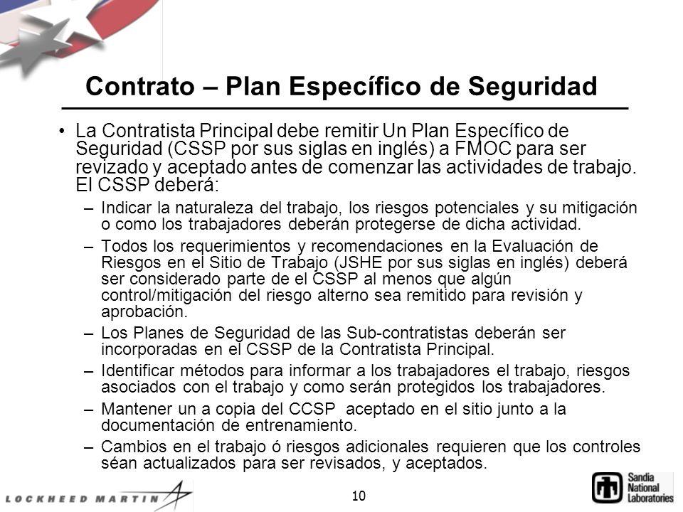 Contrato – Plan Específico de Seguridad