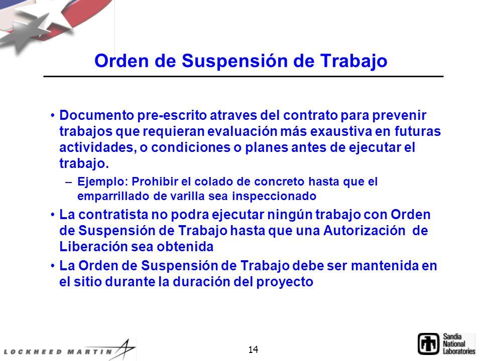 Orden de Suspensión de Trabajo