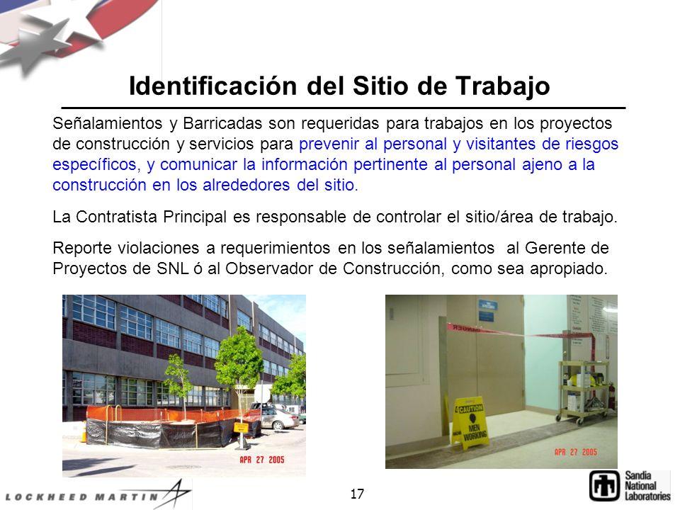 Identificación del Sitio de Trabajo
