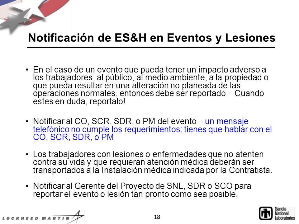 Notificación de ES&H en Eventos y Lesiones