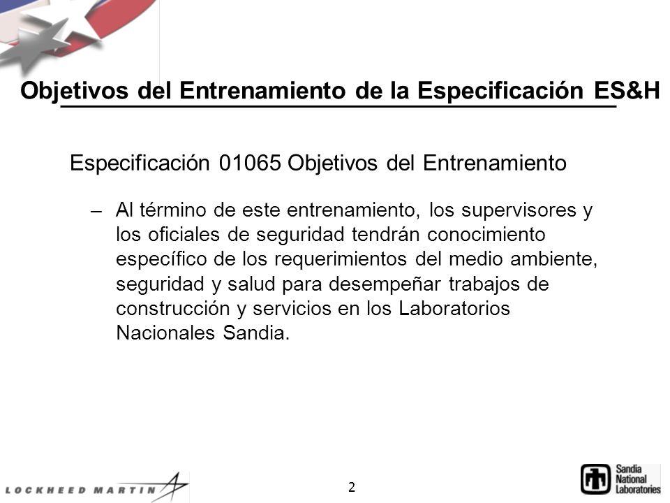 Objetivos del Entrenamiento de la Especificación ES&H
