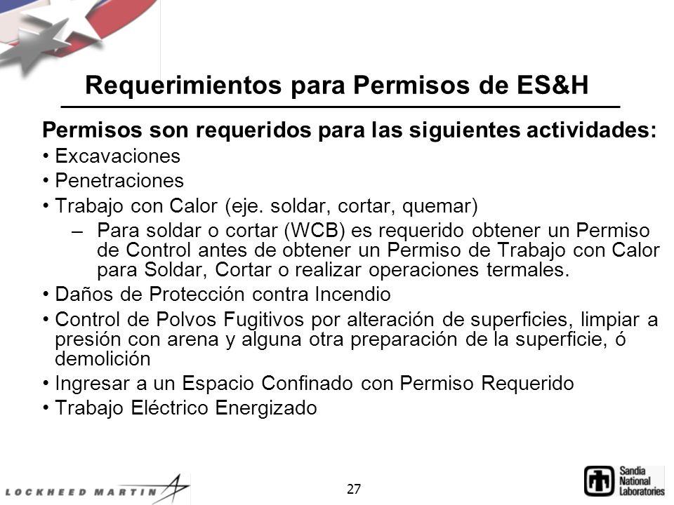 Requerimientos para Permisos de ES&H