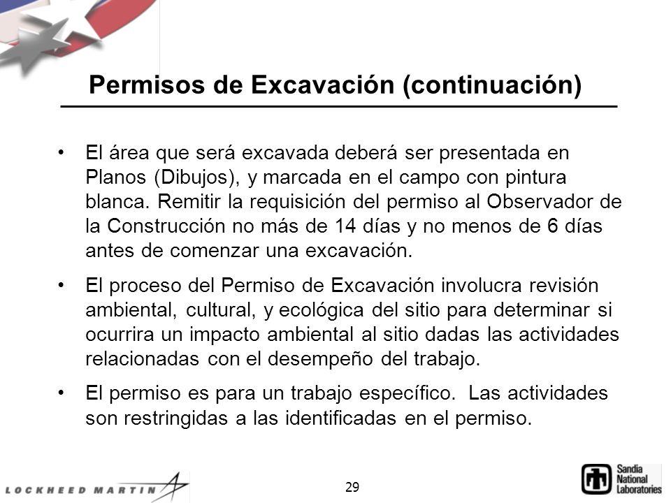 Permisos de Excavación (continuación)