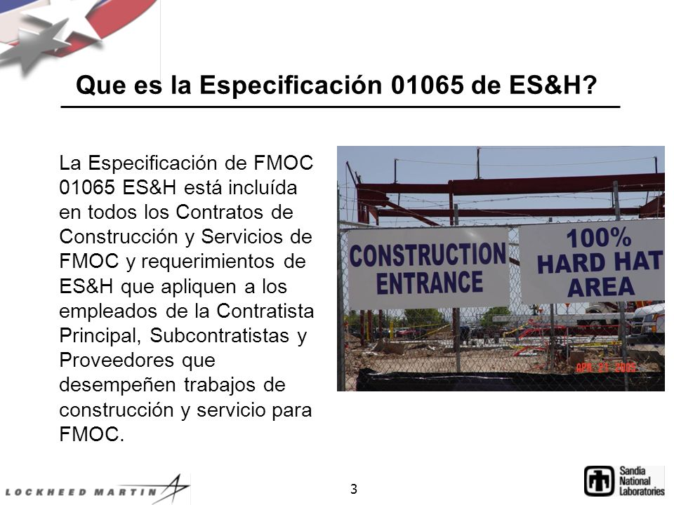 Que es la Especificación 01065 de ES&H