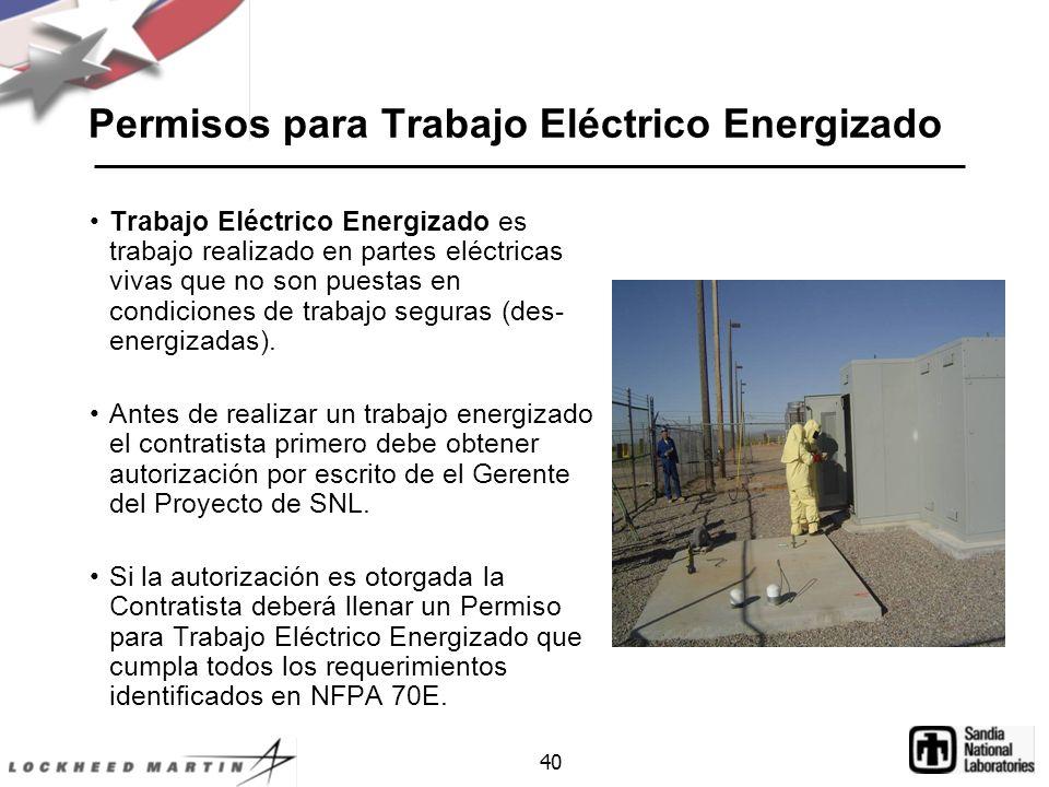 Permisos para Trabajo Eléctrico Energizado