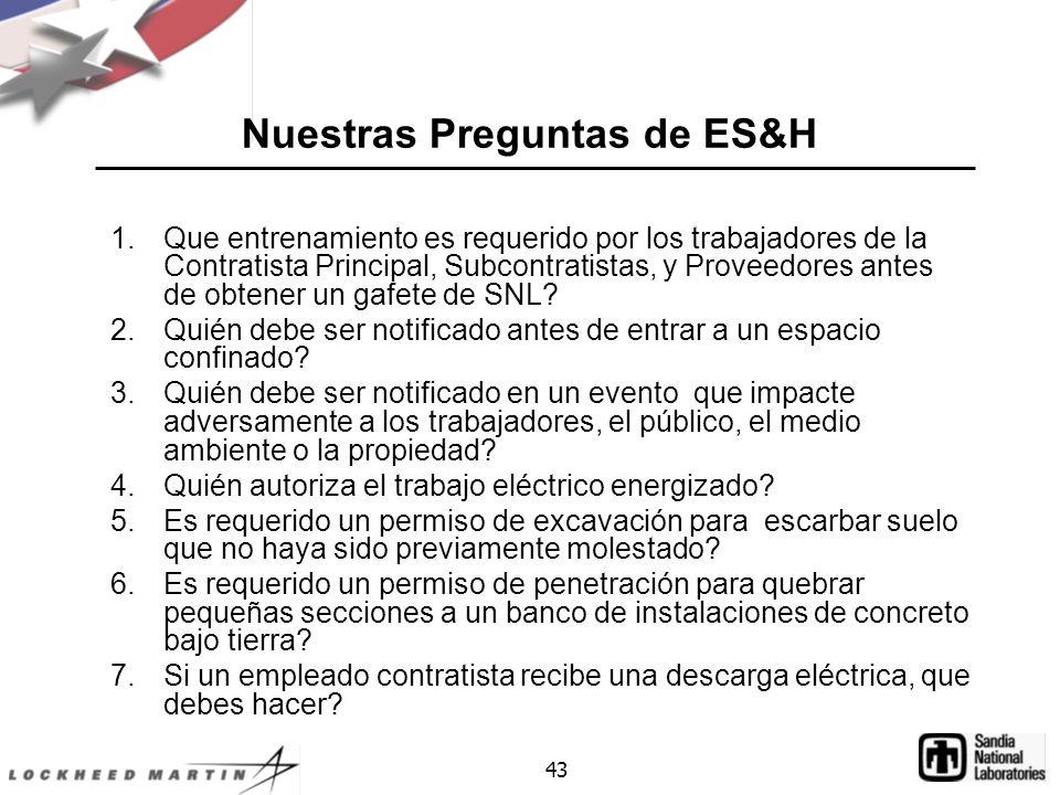 Nuestras Preguntas de ES&H